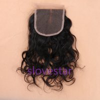 Wholesale Brazilian Lace Closure Cheap Virgin Brazilian Water Wave Closure x4 quot Natural Wave Hidden Knot Middle Or Free Part