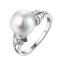 Wholesale Classic Artificial Pearl Double Inlay Zircon Imitation Rhodium Plated Ring cm cm Brass Inside For Fashion Lady And Each ccasion