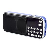 Wholesale 2017 New Arrival Portable Digital Stereo FM Mini Radio Speaker Music Player with TF Card USB AUX Input Sound Box Blue Black Red