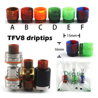 Wholesale Resin Drip Tips For TFV8 Tank Vaporizer Epoxy Resin Mouthpieces For E Cigarettes Fit Atomizers Colors With Individual Packaging