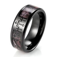 Wholesale China SHARDON High quality Men s mm width IP Black Titanium Crosses Real Forest Camo Ring
