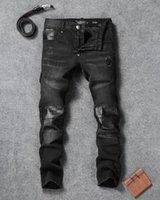 al por mayor pantalones de cuero-Pantalones de los pantalones del bordado de Jean del dril de algodón de Philipp Plein de los hombres a estrenar de 2017 Pantalones del Mens de los pantalones del PP de los pantalones de los hombres 9936