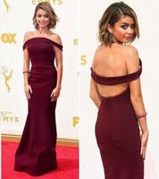 Precio de Alfombra roja del hombro fuera-Emmy premios celebridad vestidos de fiesta de la alfombra roja de los hombros hombro backless celebridad vestidos de baile de largo piso longitud vaina formal vestidos de noche