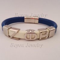 alpha phi - customized Alpha style Jewelry gift ZETA PHI BETA Sorority divine Fraternity ZPB leather magnetic bracelet bangle