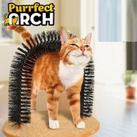 alloy base - Purrfect Arch Pet Cat Self Groomer and Massager With Round Fleece Base Cat dog Toy Brush Pets Toys Purrfect Scratching Devices h107