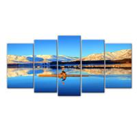 5 Pieces полотнами Тибет Высокие горы катание на лодках Картина стены искусства Холст с деревянной рамой для домашнего декора в качестве подарков