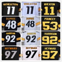Wholesale Mens Markus Wheaton Bud Dupree Maurkice Pouncey James Harrison Cameron Heyward Black White Elite Jersey Top Quality