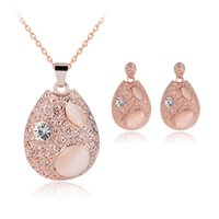 Wholesale European Charms Rose Gold Plated Alloy Water Drop Pendant Necklaces Earrings Jewelry Sets New Arrival High Quality Opal Pendants