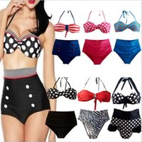 Wholesale Retro Sexy High Waist Swimsuit Swim Suit Wear Swimwear Bathing Push Up Bikini Set Polka Dot Victorian Style Strip