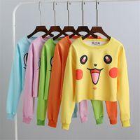 big orange hoodie - Hoodies Girls Harajuku Poke Printing Emoji Sweatshirt Big Girls Womens Crop Tops Fashion Long Sleeve Sunderas Hoodie