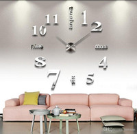 3D Sticker abstract wall clocks - DIY wall stickers fashion creative acrylic mirror wall clocks crystal clocks sittingng room bedroom background adornment