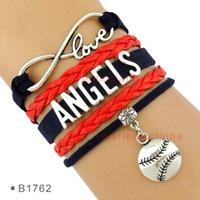 angeles love heart - Pieces Infinity Love Baseball los angeles Angels Baseball Bracelet Mens Womens Bracelet Custom Any Theme Drop Shipping
