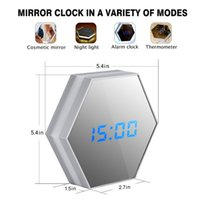 Wholesale New Arrival Multifunctional Digital Alarm Clock LED Mirror Night Light Calendar Thermometer Function Clock with USB Cable DHL free