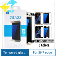 Wholesale For Samsung galaxy S6 edge plus S7 Edge H d Curved Side Full Cover Tempered Glass Screen Protector with Retail package