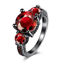 Wholesale Ruby Round Mosaic CZ Wedding Ring Red Purple