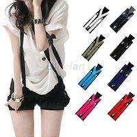 Wholesale PC New Mens Womens Unisex Clip on Suspenders Elastic Y Shape Adjustable Braces Colorful DJF