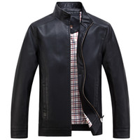 Wholesale 2016 Faux Leather Jackets Men s Clothes Spring Autumn Coats Men Outwears Brand Clothing Business Men s Jacket XL WA093