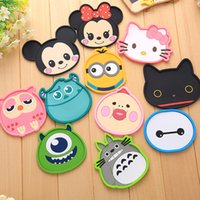 Wholesale 11Pcs Mixed Cartoon Cup Mats Owl Kitty Cat Minnie Mouse Silicone Dining Table Placemats Coaster Glass Insulation Pad Coffee Cups Holder Deco