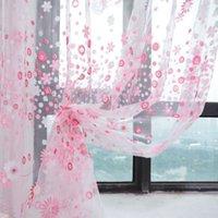 Новые панельные шторы RU-Оптово-1 шт новый цветок печати Sheer занавес панели окна комнаты Делитель 3 цвета