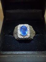 antique sapphire diamond ring - Antique Mens Certified Natural Blue Sapphire Ct Diamond Ring K White Gold