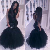 beading patterns - Black Girl Plus Size Mermaid African Prom Dresses Long Tulle Sequined Sexy Backless Formal Evening Gowns Cheap Cocktail Party Dress