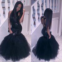 al por mayor sirena, más del prom del tamaño del vestido-Negro Girl más tamaño de sirena africana vestidos de baile largo 2017 Tulle Sequined Sexy Backless formal vestidos de noche baratos vestido de fiesta de cóctel