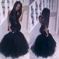 Wholesale Sparkly Black Gir Mermaid African Prom Dresses Long Halter Neck Sequined Tulle Sexy Backless Corset Formal Gowns Cheap Party Dress