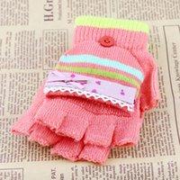 Guantes estudiantes femeninos de Corea del invierno tejiendo lana flexible medio dedo con guantes cálidos y dobles