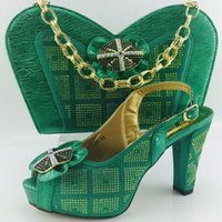 ball shoe heel - 2017 New arrival fashion African shoes and bag set for wedding party ball high heel pumps open toes dress shoes green color