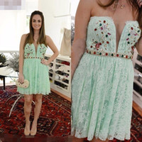 aqua cocktail dresses - 2017 Cheap Aqua Mint Green Homecoming Dresses Lace Beaded Belts Vestido de Festa Curto Girl Short Graduation Party Gowns Prom Cocktail Dress