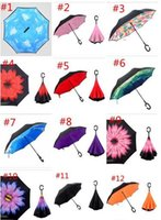 Wholesale 10PCS Creative Inverted Umbrellas Double Layer With C Handle Inside Out Reverse Windproof Umbrella colors
