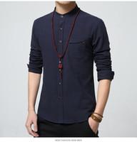 Wholesale 5XL Cotton Linen Men Shirt New Stand Collar Casual Male Shirt Slim Fit Mens Shirts Long Sleeve Camisa Hombre MC250