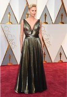 Wholesale 2017 New Arrival th Oscar Celebrity Evening Dresses V Neck Pleats Floor Length A Line Formal Prom Party Gowns Custom Made