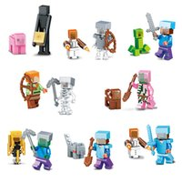 Wholesale 2016 Mine World e Minifigures Building Blocks Sets Model Bricks My Craft Crystal Mini Figures Kids Toys