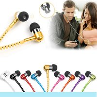Wholesale New Metal Zipper Earphones mm in ear earphone with mic for IPHONE s s for ipad mini mp3 mp4 For samsung S5 S6