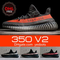 Wholesale 2017 DHL Free double and receipts boxs SPLY Boost V2 Black White Kanye West Grey Orange Beluga Running Shoes Sneakers size
