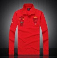Wholesale 2017 aeronautica militare camisa masculina polo mens Long sleeve shirts high quality Air force one shark polos clothing
