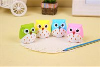 Wholesale 10pcs cartoon owl pencil sharpeners korean stationery for children gifts