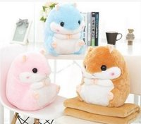 Wholesale Cute hamster pillow covers amphibious car cushion for leaning on of the folded air conditioning is rug nap pillow pillows coral