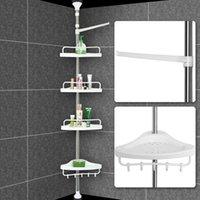 Wholesale Telescopic Bathroom Shower Shelf Adjustable Corner Rack Tier white cm