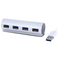 2016 venta caliente Aluminio 4 Port USB de alta velocidad cilíndrico de datos HUB para la mayoría del teléfono inteligente - Plata
