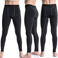 Wholesale Hot Men s Tight Elasticity Training Pants Running Sports Fitness Pant Perspiration quick dry Gym Pants