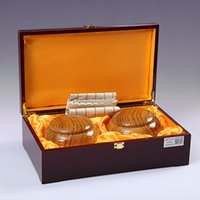 Wholesale National treasure new Yunzi go chess suits Carved gold double plate wood chess box by Hosalei