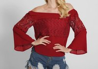Wholesale 2017 New Style Women Fashion Sexy Lace Tops Off The Shoulder Shirt Hollow Out Long Sleeve Plus Size