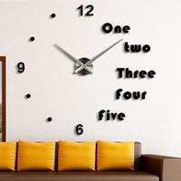 Wholesale Moza inch Modern D Mirror Wall Clock DIY Room Home Decor Bell Cool Mirror Sticker Big watch