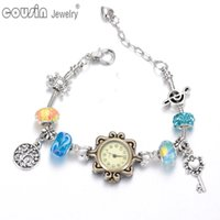 beaded wrist watch - New arrivals wrist band Quartz Clock Beaded link chain vintage silver style Charm bracelet wrist watch For women Dress Set