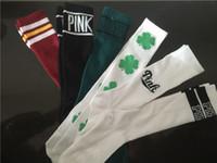 Wholesale Custom Design Print Logo party New Girl s PINK SOCKS Cotton long socks women s football Sport Skateboard VS love sock emoji