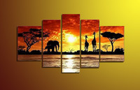 african elephant pictures - Wall Art Decor Black Friday Sale Panel Hand Painted Canvas Painting African Elephant Framed Sunset Landscape Painting Ready to Hang