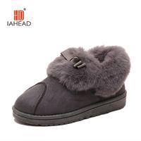 Vente en gros-2016 Nouveau chaud doux Sole Femmes Pantoufles intérieur étage Flannel Accueil Pantoufles 2 Couleur Flock Peluche hiver femmes chaussures UPB38