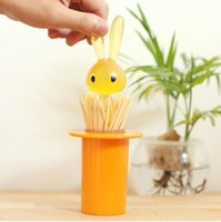Wholesale Portable Creative Lovely Magic Bunny Rabbit Toothpick Holder Dispenser Container Cute Tsble Decoration Random Color